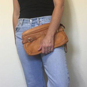 Leather vintage wristlet
